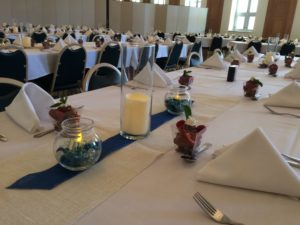 Chocolate mousse berry parfait catered for the La Crosse Diocese