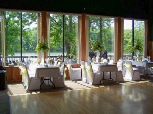Pettibone Banquet Hall set up for a wedding reception
